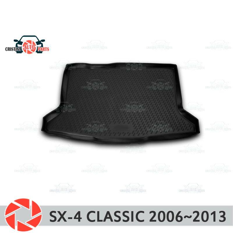 Stamm matte für Suzuki SX4 Klassische 2006 ~ 2013 stamm boden teppiche non slip polyurethan schmutz schutz innen trunk auto styling