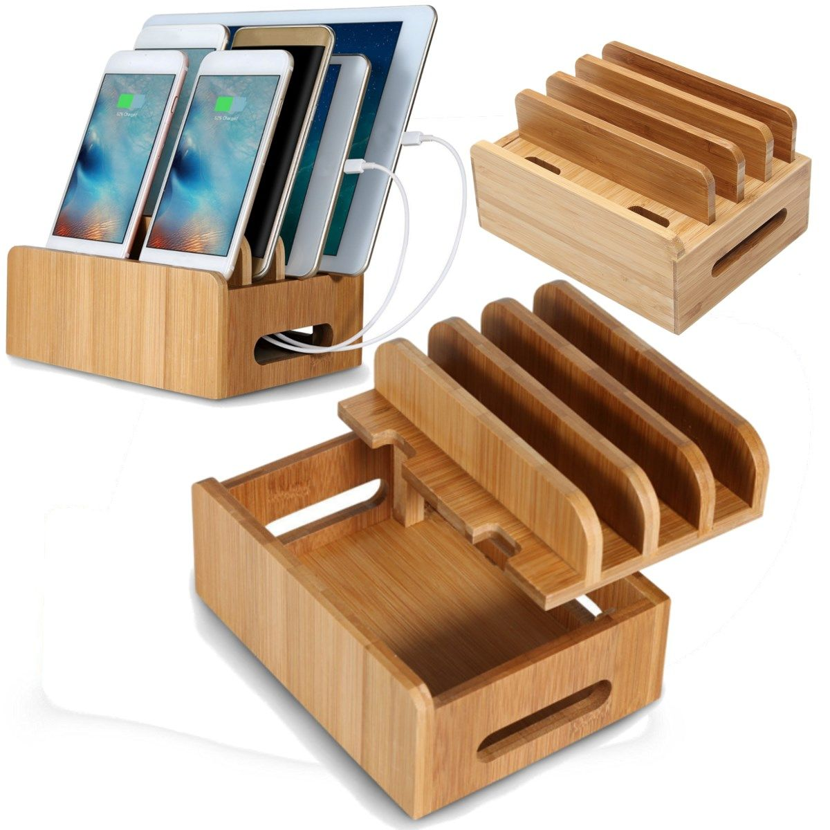 Universal Bamboo Multifunction Mobile Phone Holder Cords Organizer Stand Charging Station For iPhone For Smart Phone/Tablet
