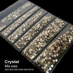 Mix Tailles 1728 PCS/Pack Cristal Non Hotfix Flatback Strass Nail Rhinestoens Pour Ongles 3D Nail Art Décoration Gems