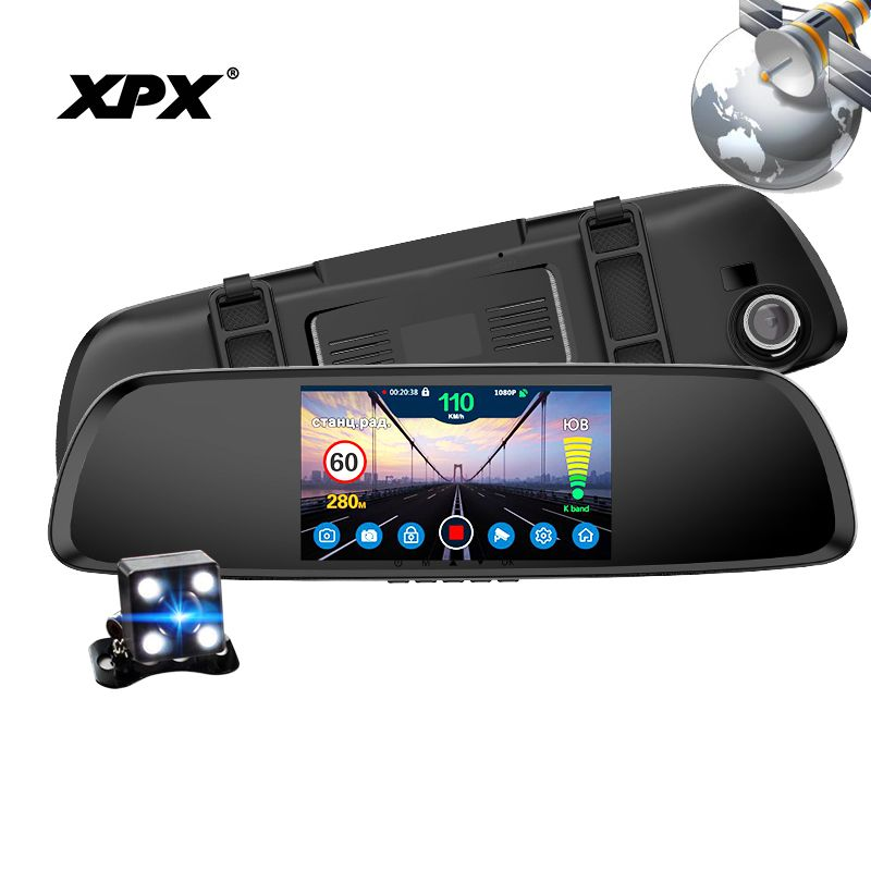 Dash cam XPX G616-STR Car dvr 3 in 1 GPS Radar Dvr Rear view camera Car DVR mirror Camera car Full HD G-srnsor Car camera record