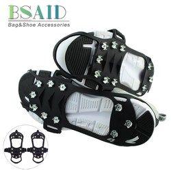 Bsaid Outdoor Salju Es Gripper 10 Kuku es Crampon Panjat Tali Cleat Paku Non Slip Boots Silikon Sepatu Pegangan