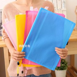 High quality 8 sizes Random Color Plastic Double Layer Paper Document File Bill Zipper Bag Pencil Pouch