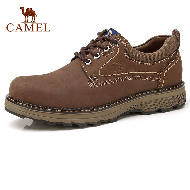 CAMEL Men's Shoes Autumn Casual Low-cut Workwear Scrub Genuine Leather Flexible Matte Cowhide Man Footwear Non-slip Male Boots