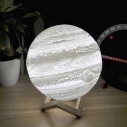 3D impresión luz Júpiter lámpara tierra lámpara colorida lámpara Luna recargable cambio táctil USB Led noche luz Decoración para el hogar regalo creativo