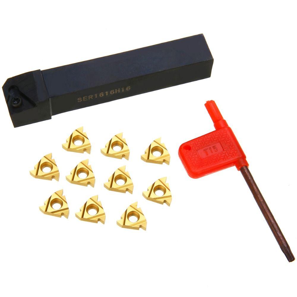 1 pc SER1616H16 porte-outil + 10 pièces 16ER AG60 Insert interne en carbure + clé pour outil de filetage tournant tour