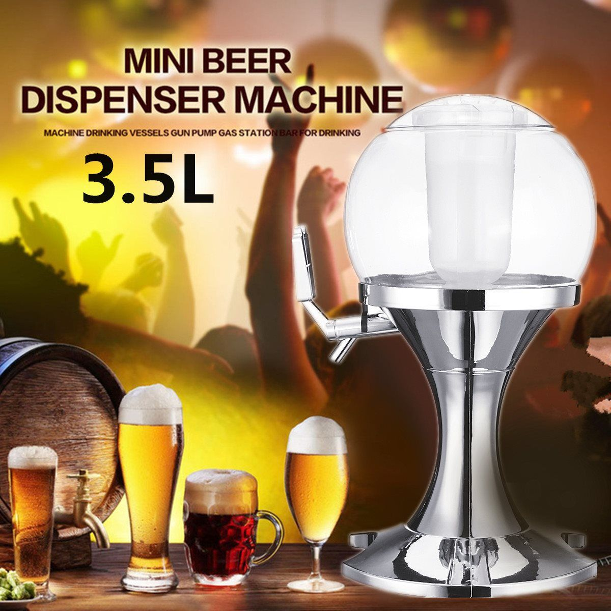 Silver Ice Core Beer Beverage Dispenser Whiskey Juice Pourer Machine Container Home Party Bar Tools Accessories Barware 3.5L