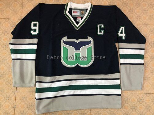 #94 BRENDAN SHANAHAN Hartford Whalers Hockey Jersey Embroidery Stitched Customize any number and name Jerseys