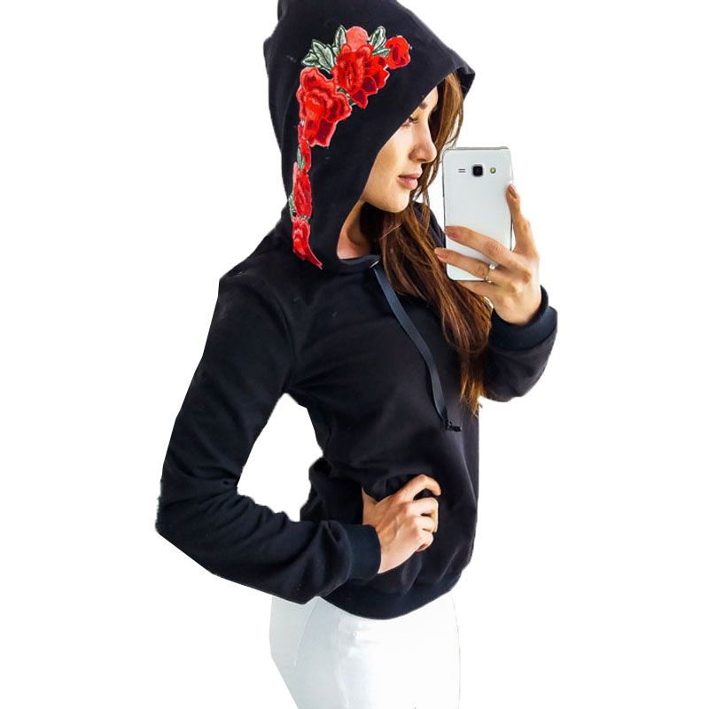 Autumn Hoodies Long Sleeve Slim Sweatshirt 2017 Women Casual Tracksuit Hooded Embroidery Retro Pullover Outwear Jumper Tops