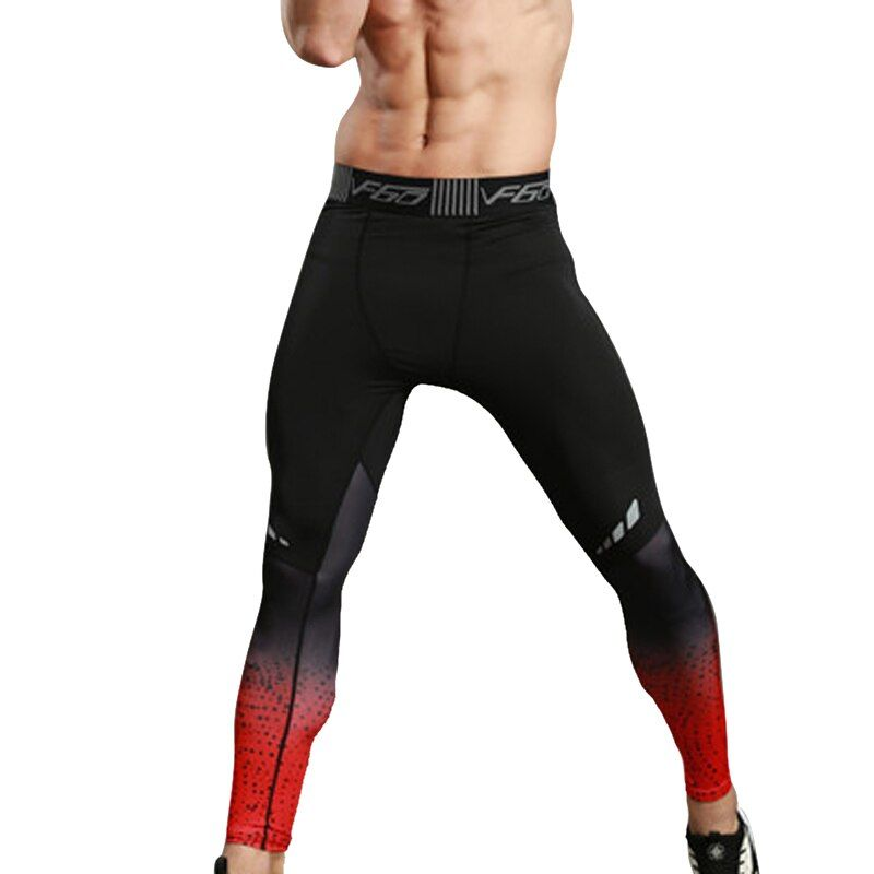 NIBESSER Brand 2017 Men Fitness Leggings Tights Elastic Patchwork Compression Tights Quick Dry Breathable Bodybuilding Pants New
