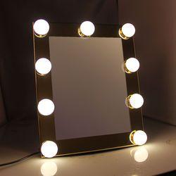 Vanité Plateaux de Maquillage Éclairé Miroir Avec 9 LED Ampoule Lumières Tactile Stade Écran Beauté Miroir Cosmétique Réglable Outil 2018