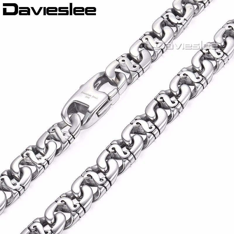 9.5mm Biker Link Mens Necklace 316L Stainless Steel Chain Silver Tone Wholesale Jewelry Customized LHN01