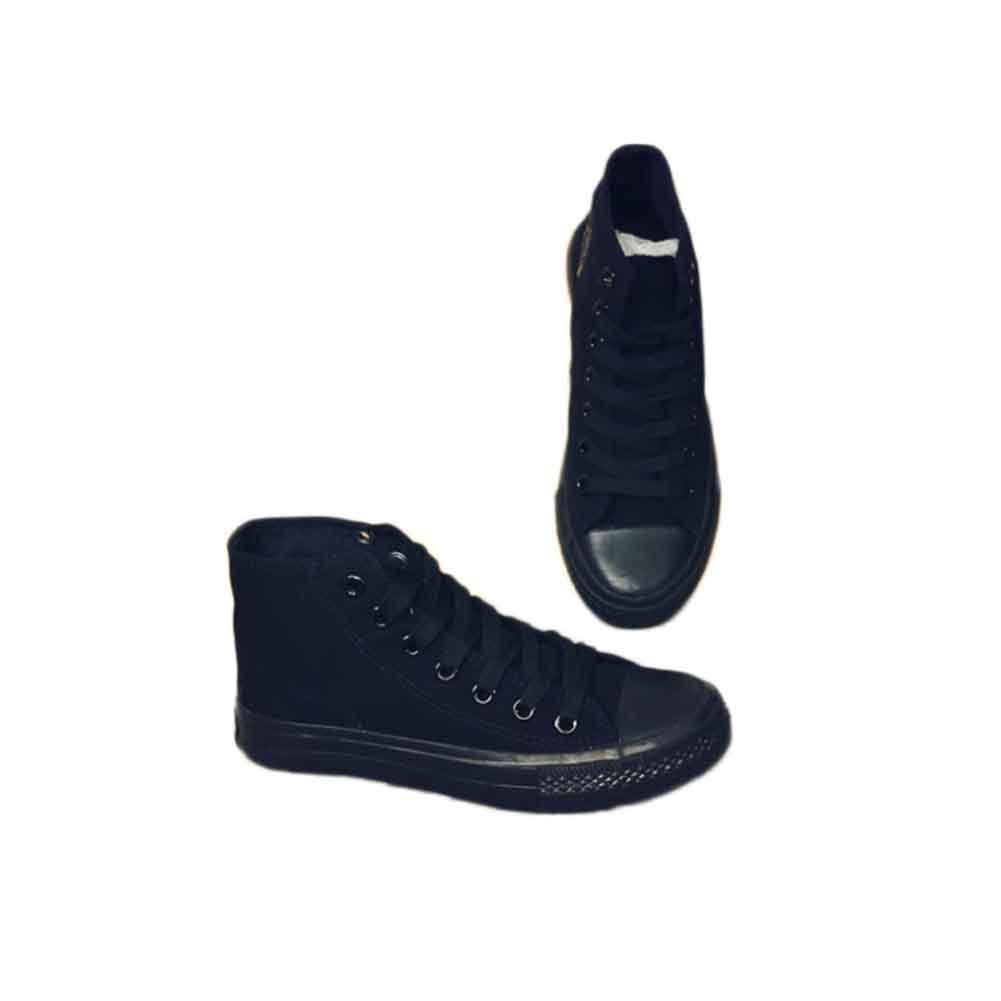 Unisex Women Men Canvas Hight top Sneakers Flat Sport Shoes Skateboarding Black Shoes