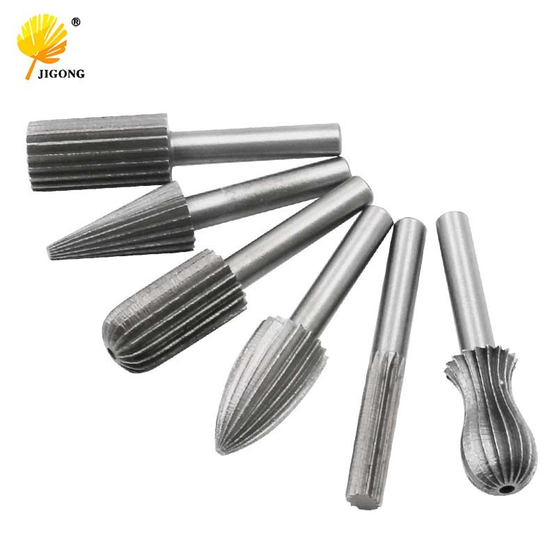 6pcs Carbide Cutter Rotary Burr Set CNC Engraving Bit Rotary File Bur Burr Grinding Shank 6mm 1/4