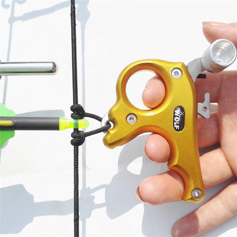 1 unid tiro con arco compuesto 3 Liberación dedo Acero inoxidable pulgar agarre Caliper release AIDS fit izquierda y mano derecha tiro