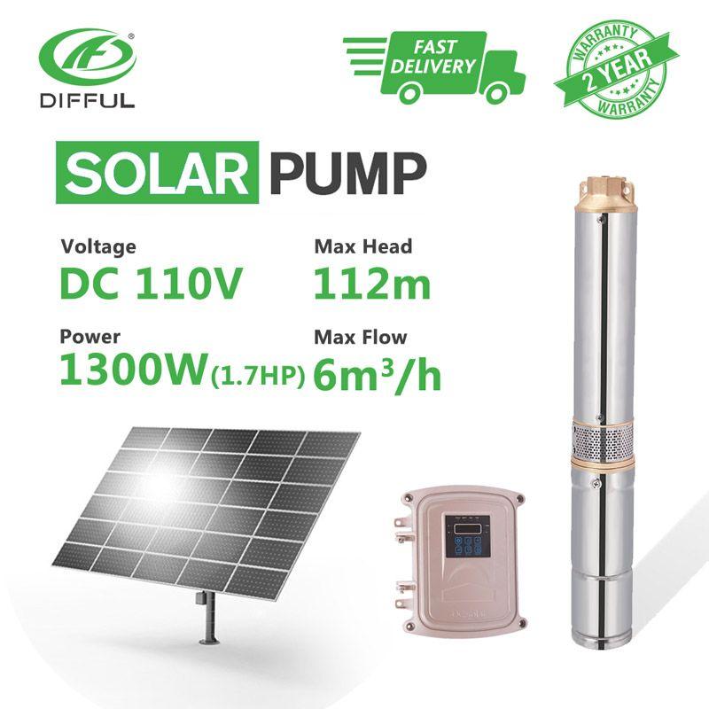 4 DC Tauch Tiefen Brunnen Solar Wasserpumpe 110 V 1300 W Edelstahl MPPT Controller Kunststoff Laufrad (kopf 112 m, flow 6 T/H)