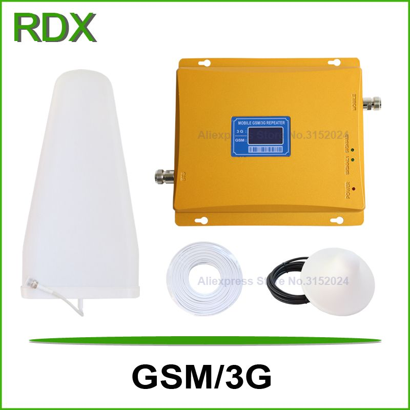 High gain 65dB lcd display dual band 900 2100 signal repeater cell phone gsm 3g w-cdma 2100mhz UMTS signal booster amplifier