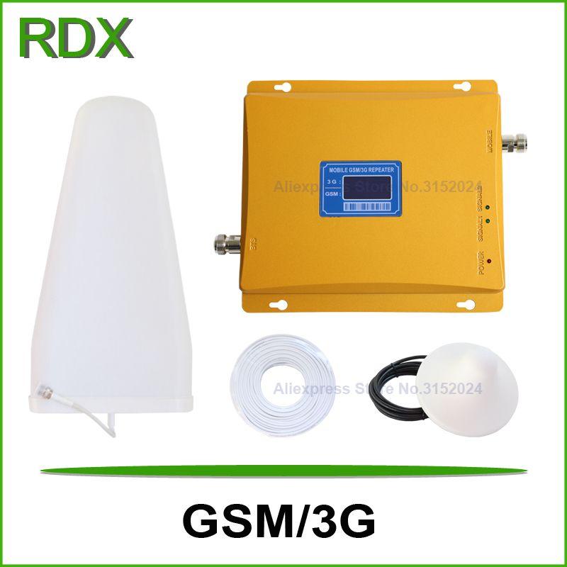 High gain 65dB lcd display dual band 900 2100 signal repeater handy gsm 3g w-cdma 2100 mhz UMTS signal booster verstärker