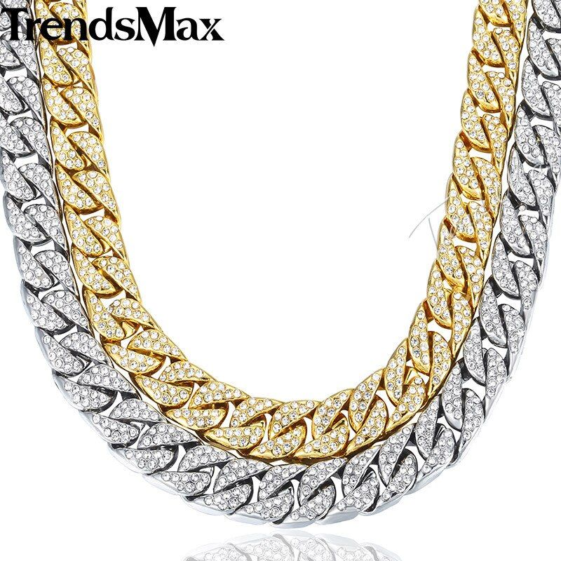 14mm 60cm Hiphop Bling Jewelry Necklace for Men Iced Out Miami Curb Cuban Link Chain Gold Silver Color CZ Rhinestones GN432