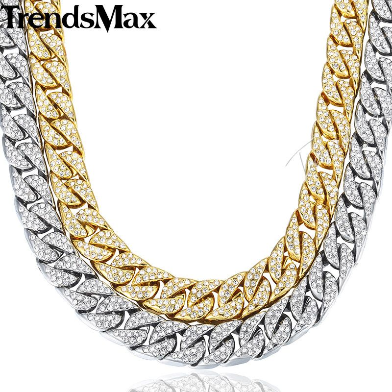 14mm Miami Curb Cuban Chain Necklace For Men Gold Silver Hip Hop Iced Out Paved <font><b>Rhinestones</b></font> CZ Rapper Necklace Jewelry GN432