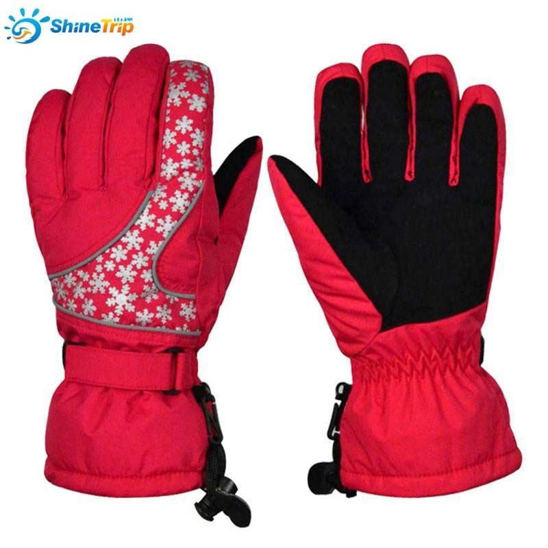 ShineTrip 1Pair Polyester Snowflake Pattern Ski Gloves Reflective Colorful Women Sport Gloves Waterproof Cycling Hiking Gloves