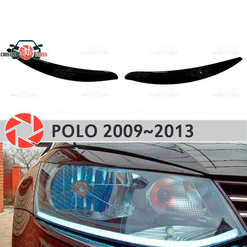 Augenbrauen für Volkswagen Polo 2009 ~ 2013 für scheinwerfer zilien wimpern kunststoff formteile dekoration trim auto styling form