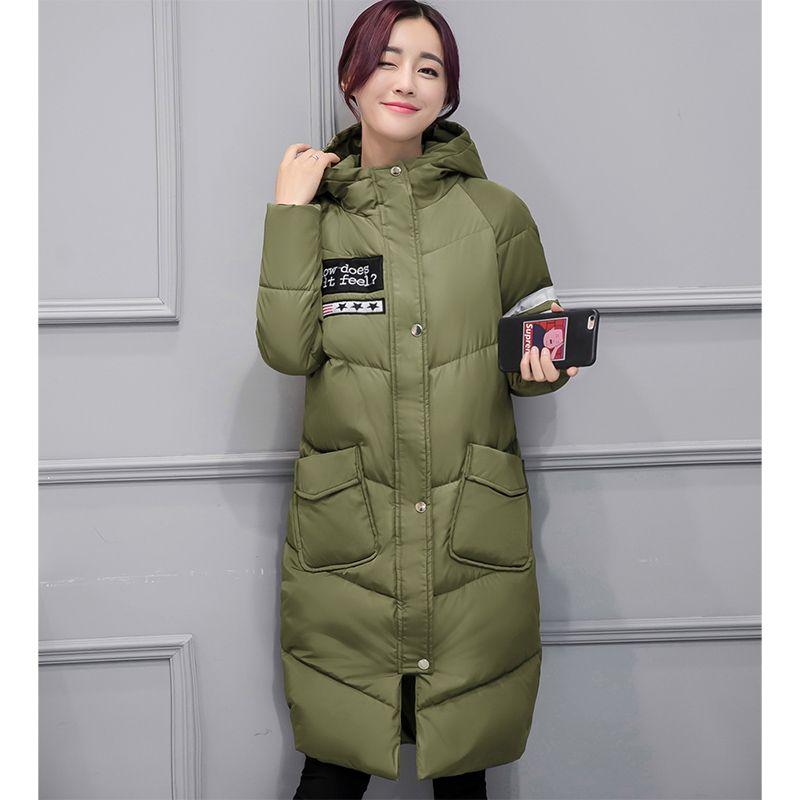 Winterjacke Frauen Beiläufige Lange Warme Daunen Baumwolle gefütterte Kapuze Parkas Jacke Mantel Große Tasche Outwear Mantel