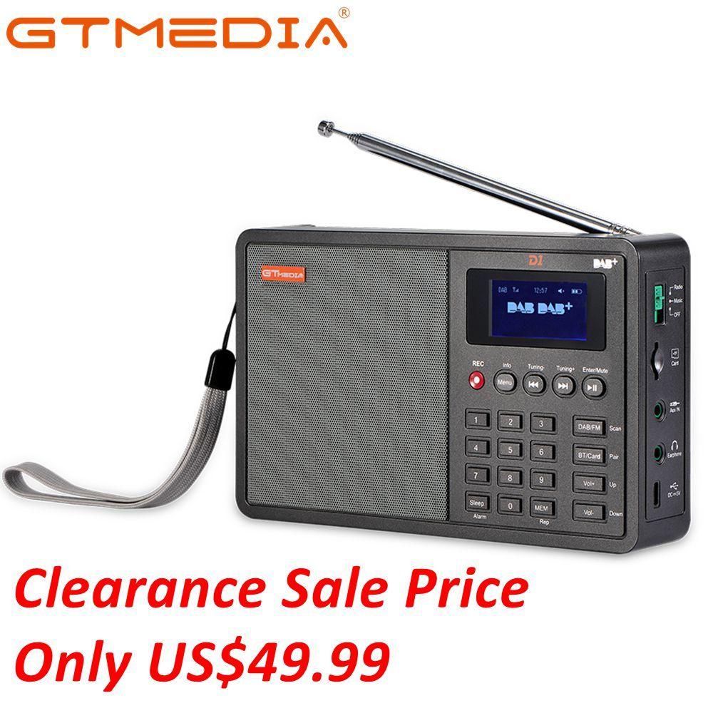 GTmedia D1 DAB +/TF/AUX Mini Radio numérique portable FM USB TF carte Radio horloge/alarme/veille minuterie avec batterie time 18650