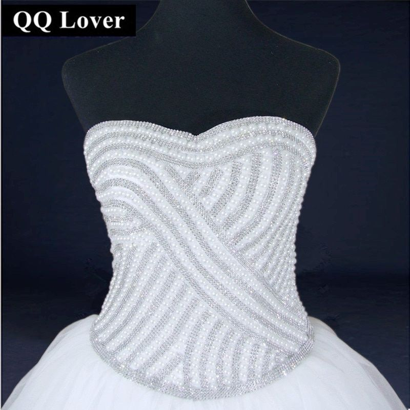 QQ Lover 2018 Latest Super Luxury Beaded Wedding Dress Very Elegant Custom Made Ball Gown Real Photo Vestido De Noiva