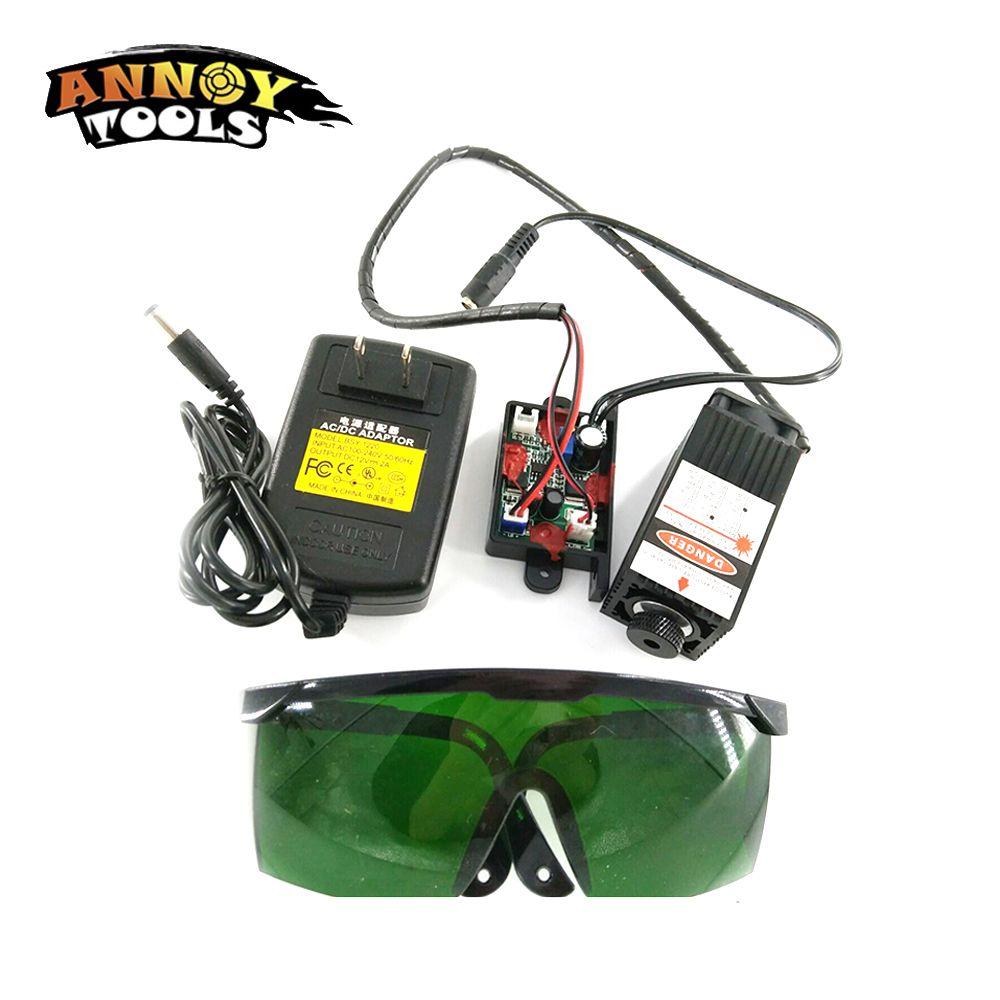 450nm 2500 mW 12 V High Power TTL Einstellbarer Fokus Blau Laser Modul DIY Laser stecher zubehör 2,5 W laser kopf + brillen