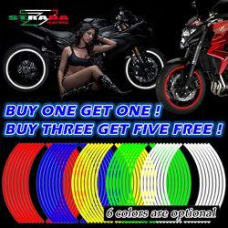 Compre uno y llévese uno gratis! Motocicleta styling La Raya del borde de la rueda Decal stickers reflector de seguridad para Yamaha Honda suzuki