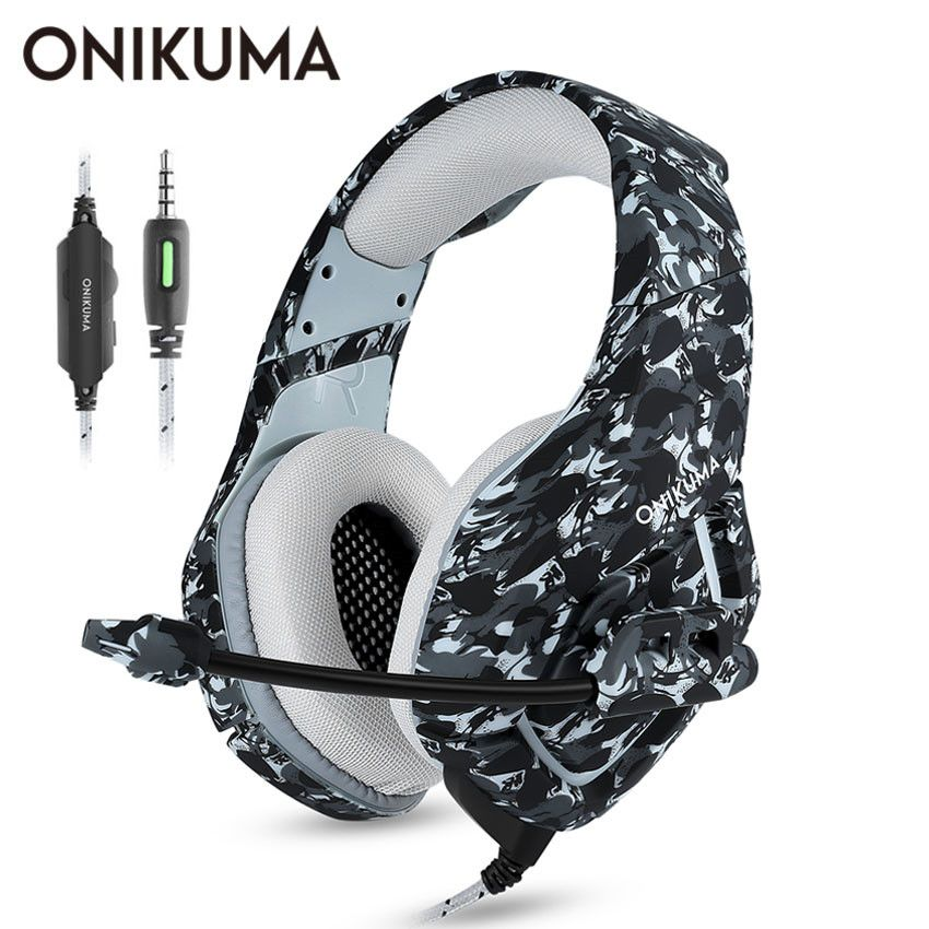 ONIKUMA K1 Casque Camouflage PS4 Headset with Mic Stereo Gaming <font><b>Headphones</b></font> for Cell Phone New Xbox One Laptop PC
