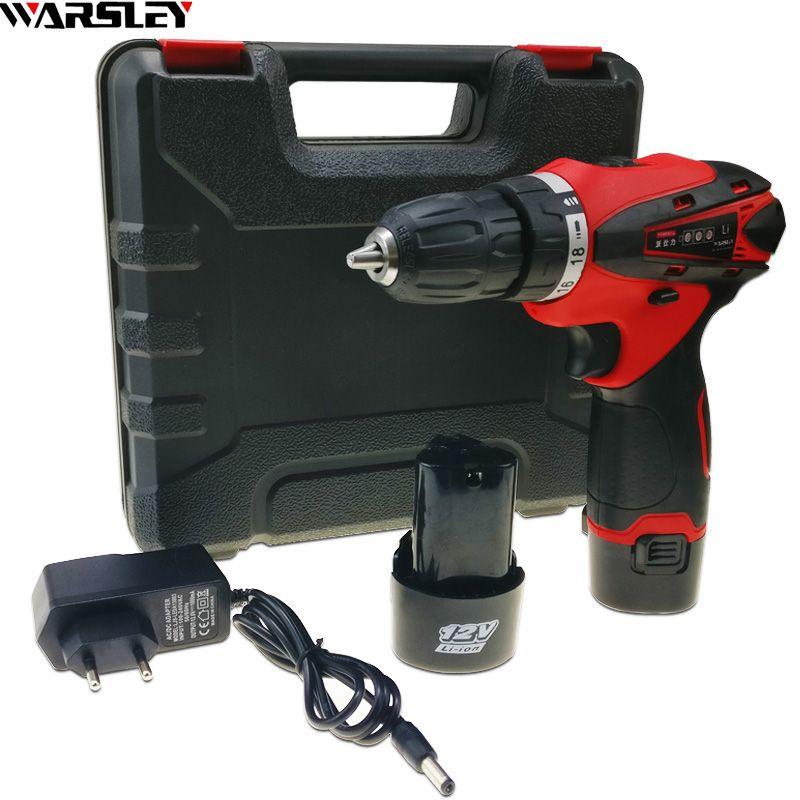 12 V 2 Batteries tournevis perceuse électrique sans fil outils électriques Mini perceuse Batteries pour perceuse sans fil perceuse à deux vitesses