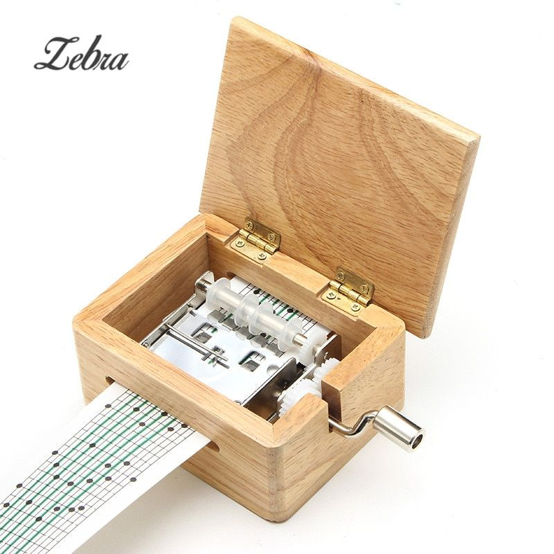 Zebra DIY Hand-cranked Music Box Wooden Box With Hole Puncher And Paper Tapes Musical Instrument Clarinet Harmonica Saxophone
