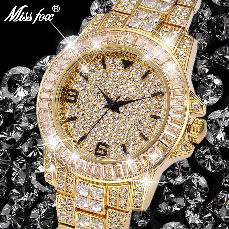 Montres de rôle hommes Top marque de luxe Missfox Rolexable montre étanche homme horloge pleine diamant Hublo unisexe montre à Quartz avec boîte
