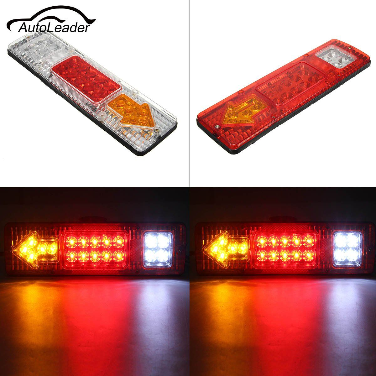 1.5W 5A Trucks Railer Tail Light LED 24V DC Trailers Van Lamp Reversing 19 LEDs In Each Lamp