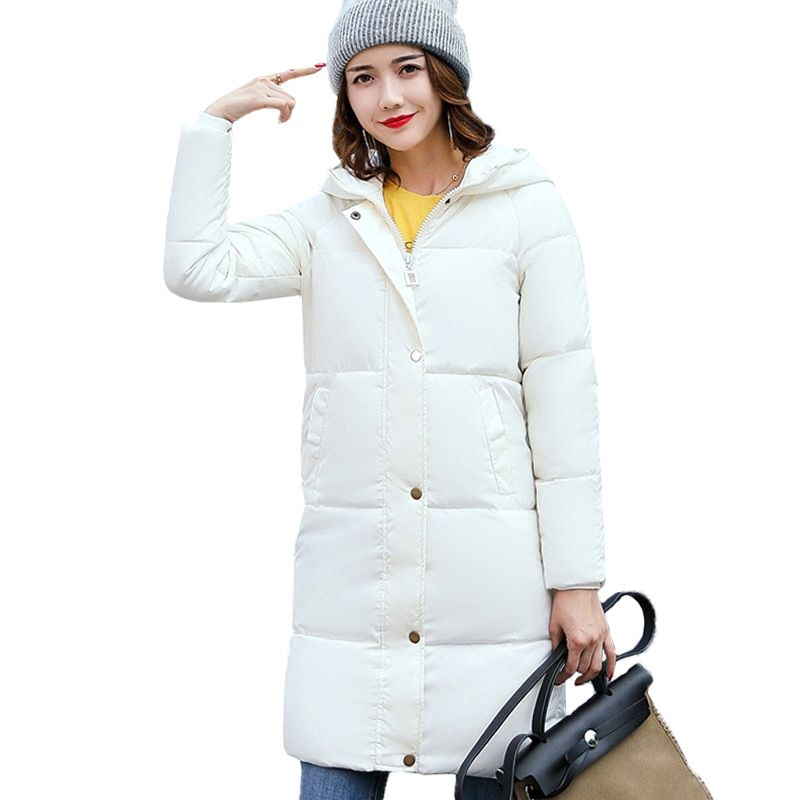 New Solid Winter Jacket Women Hooded Coat Cotton Padded Parkas Long Warm Sweat Girls Cold Outwear Female Down Jacket