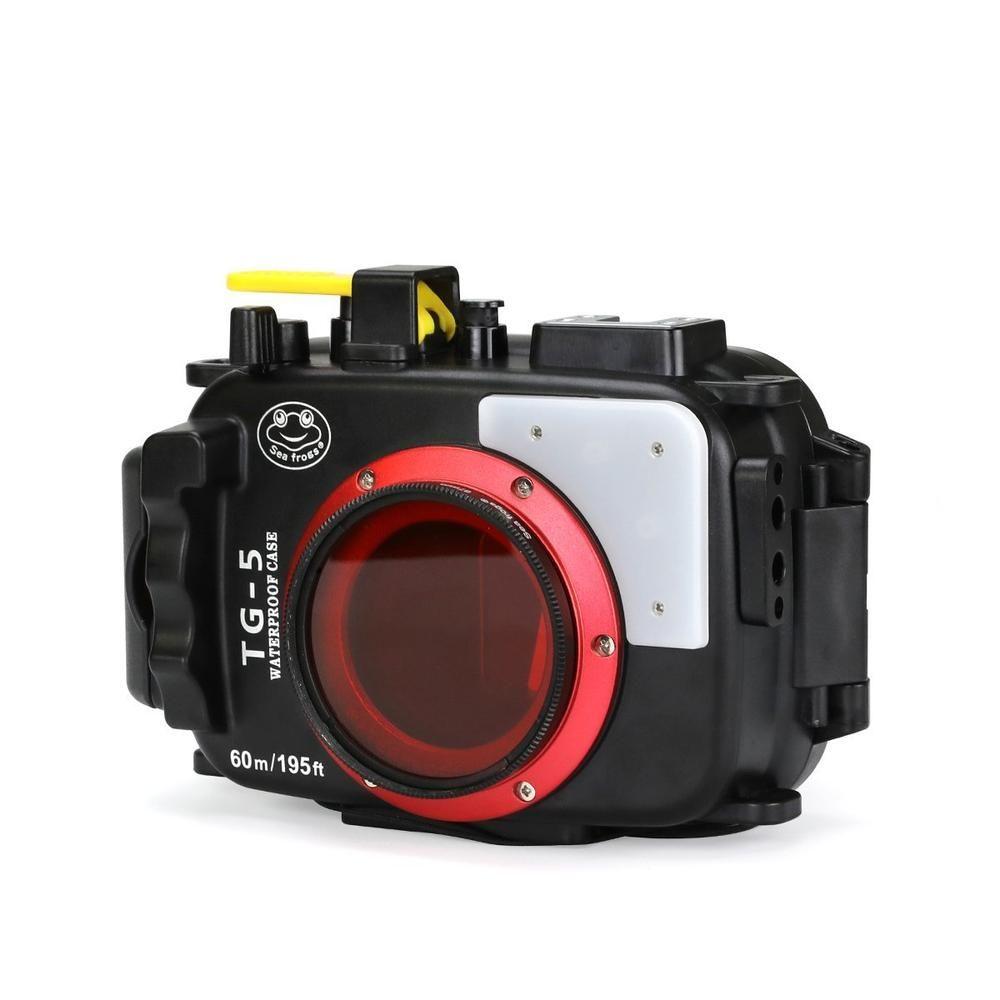 Seafrogs 195FT/60M Underwater camera waterproof diving housing for Olympus TG-5 Black