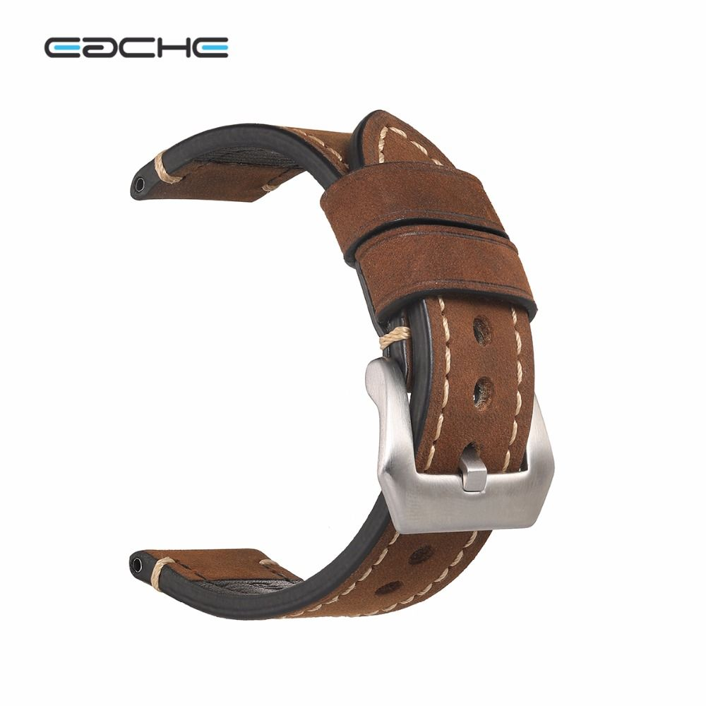 Handmade <font><b>Retro</b></font> Genuine Leather Watch Band Strap for P Watch 20mm 22mm 24mm 26mm With Silver Stainless steel Buckles