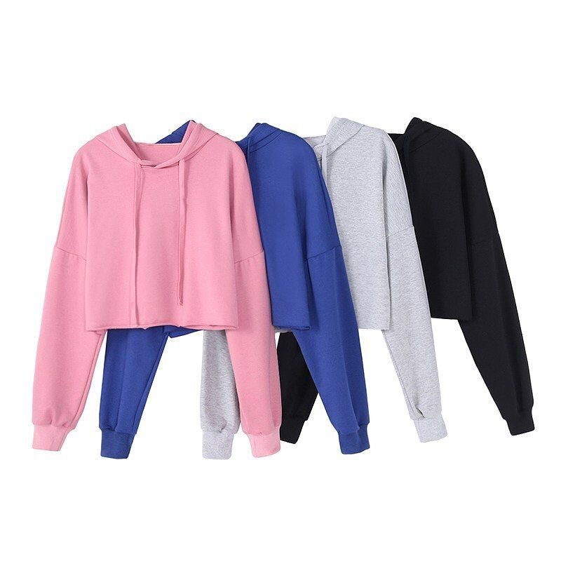 New 4 Colors Drawstring Cropped Women Hoodie Sweatshirt 2018 Spring Autumn High Street Style Casual Loose Short Pullover
