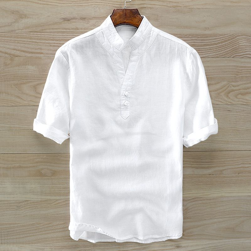 Summer men linen shirts men's short sleeve pure color thin model of Chinese men's collar button to restore ancient ways loose t-