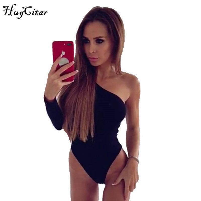 Hugcitar coton une épaule pente décolleté body manches longues 2019 automne hiver femmes slim fit corps sexy noir maillot de bain