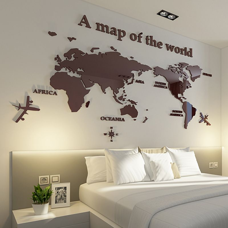 World Map Three-dimensional Crystal Acrylic wall stickers office living room TV sofa Modern Home decor Art 3D Wall Sticker Decal