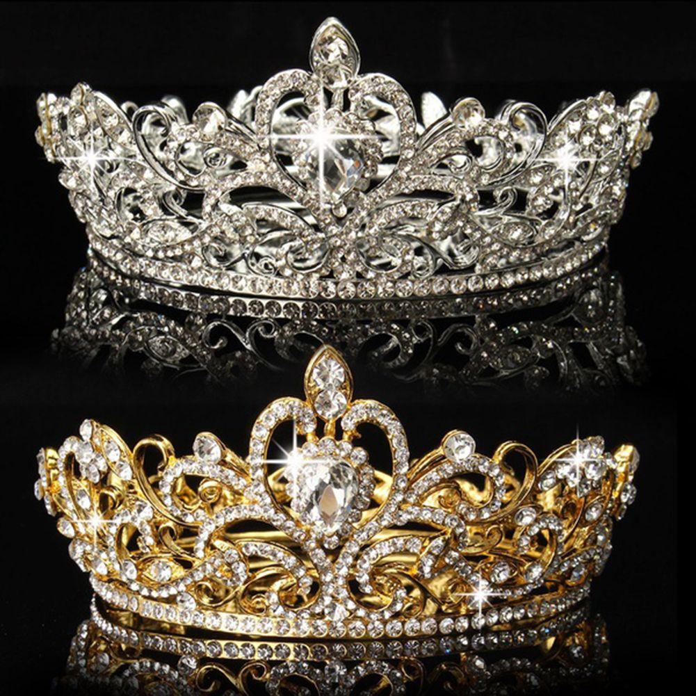Señora elegante Rhinestone Brillante Ronda Corona de La Boda Tiara Del Desfile Nupcial Celada