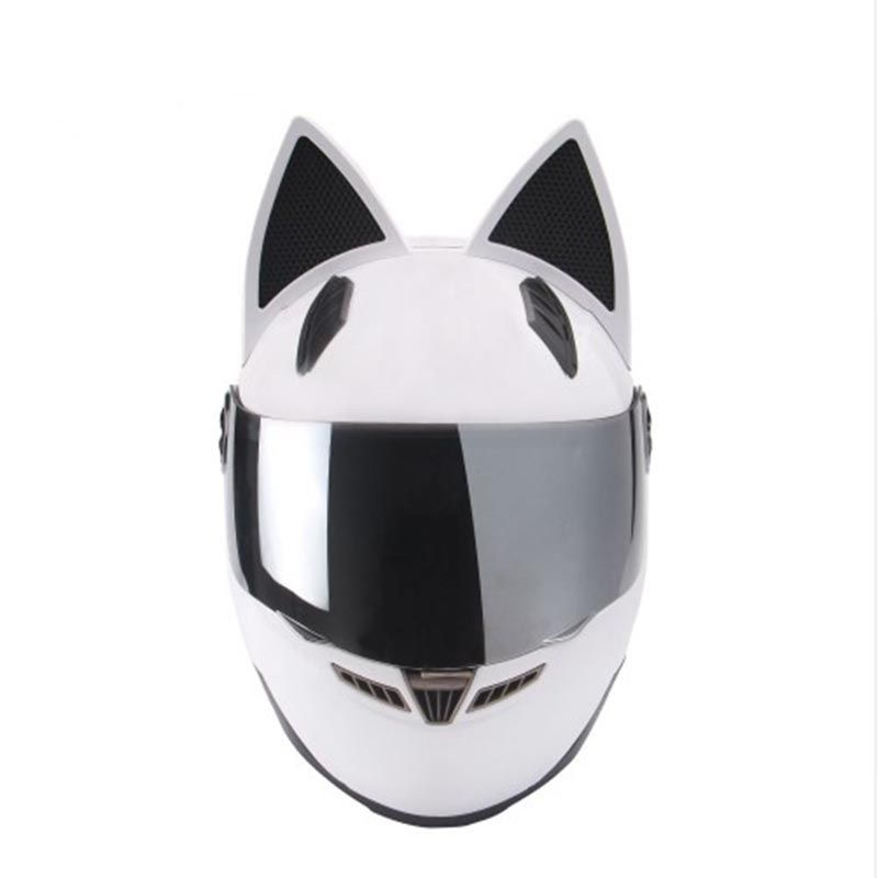 NITRINOS Brand Men Women Personality Cat Helmet Motorcycle Helmet Capacete De Moto DOT White Full Face Racing Helmet