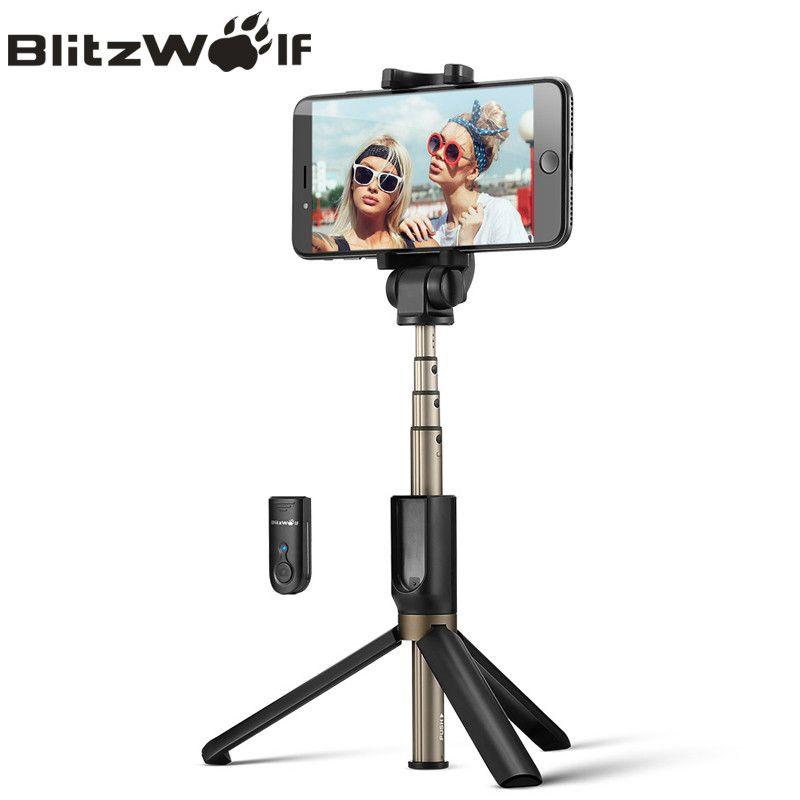 BlitzWolf 3 en 1 sans fil Bluetooth Selfie bâton Mini trépied extensible monopode universel pour iPhone X 8 7 6 s pour Xiaomi/Huawei