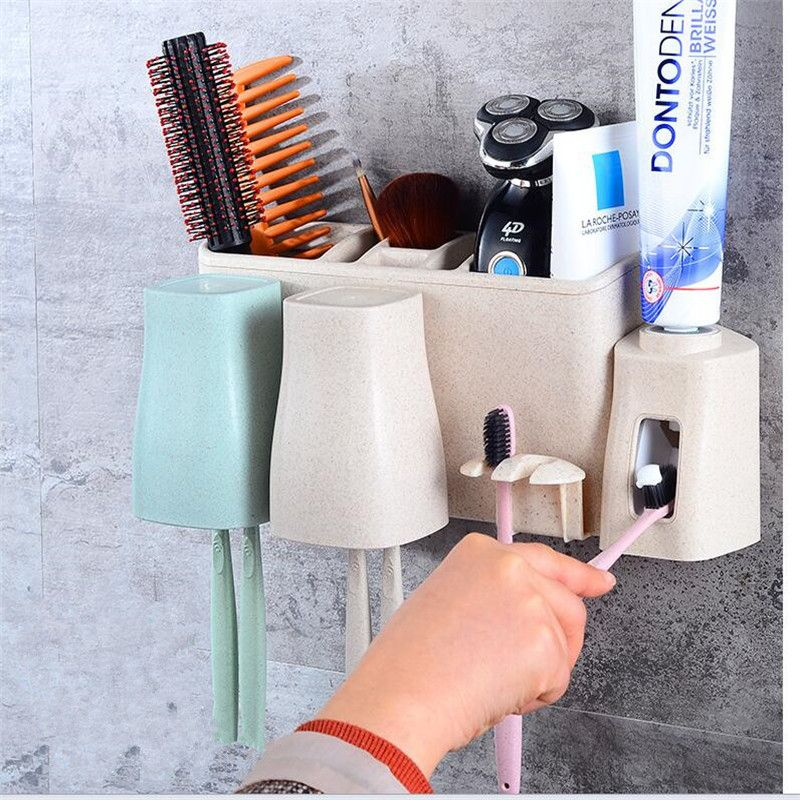 Bathroom Organizer Toothbrush Cup holder Wash cup toothpaste storage box Automatic Squeeze toothpaste Device Sink Storage Rack