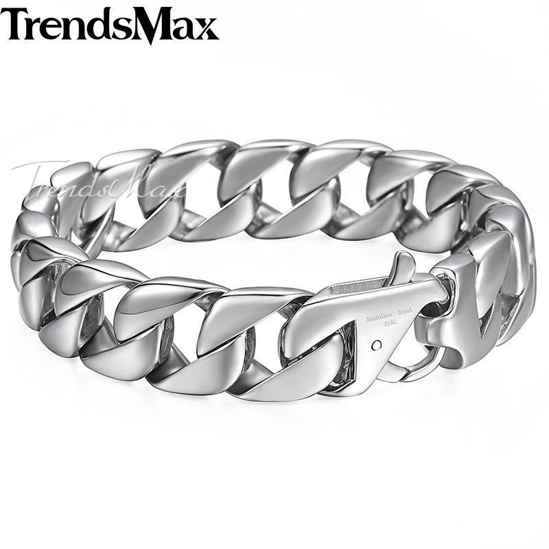 Trendsmax 14mm 316L Stainless Steel Men's Bracelet Silver Color Round Curb Cuban Chain <font><b>Gift</b></font> Jewelry For Men HB164