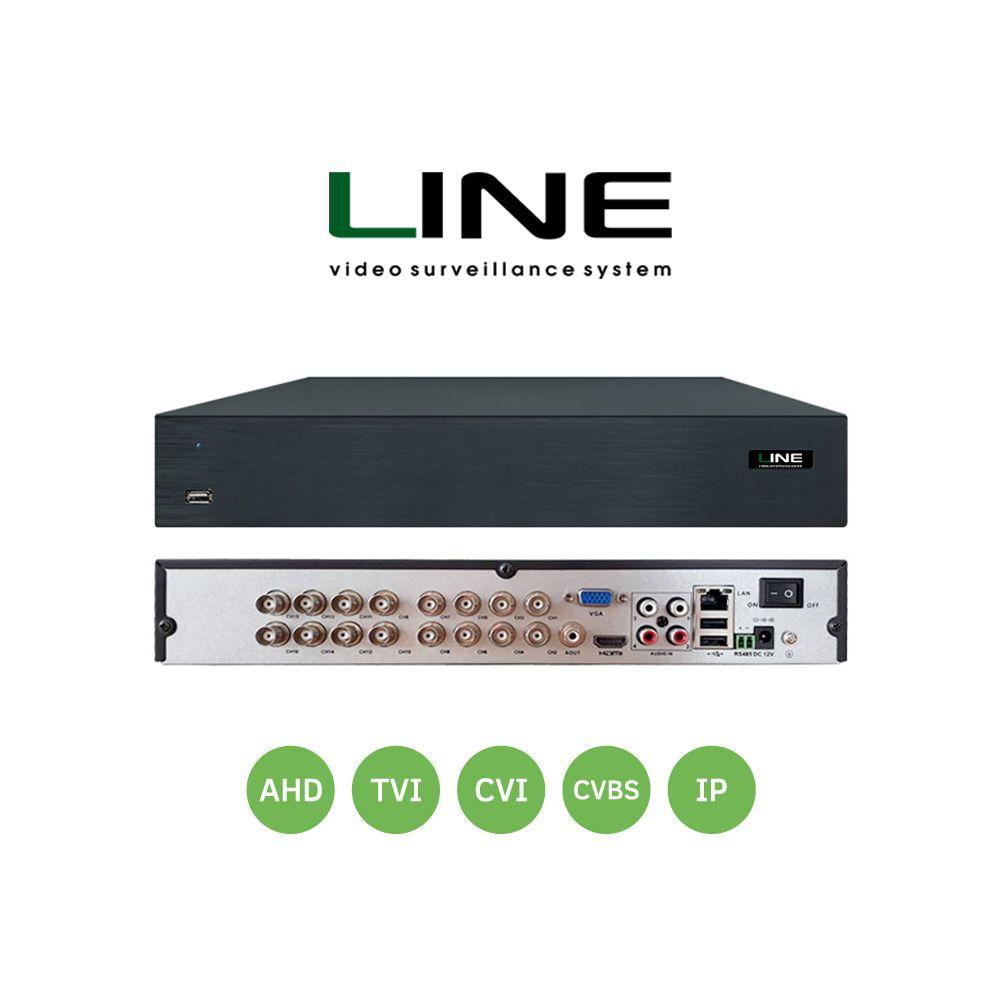 Line multi-format 16 channel HDD video recorder for CVBS, AHD, TVI, CVI, and IP video formats