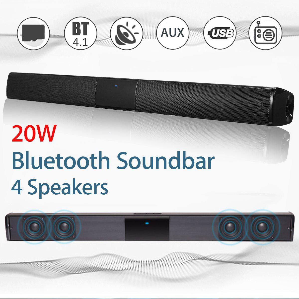 Kinco 20W Wireless Bluetooth Soundbar Stereo Hi-Fi Speaker Subwoofer FM TF AUX USB