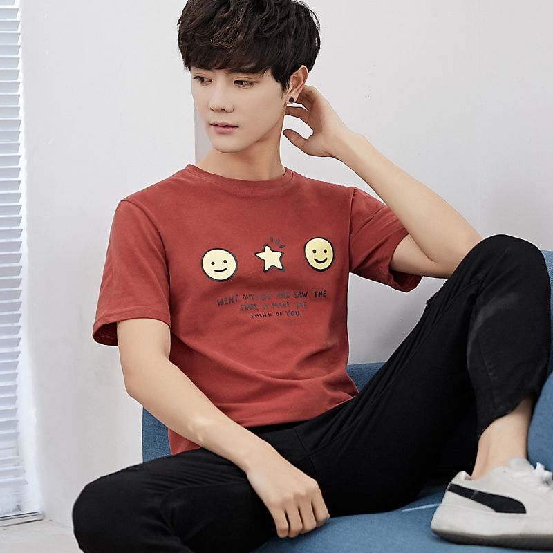 18 summer wear loose small pure and fresh and short sleeve T-shirt male Japanese tide han edition young students round collar T-